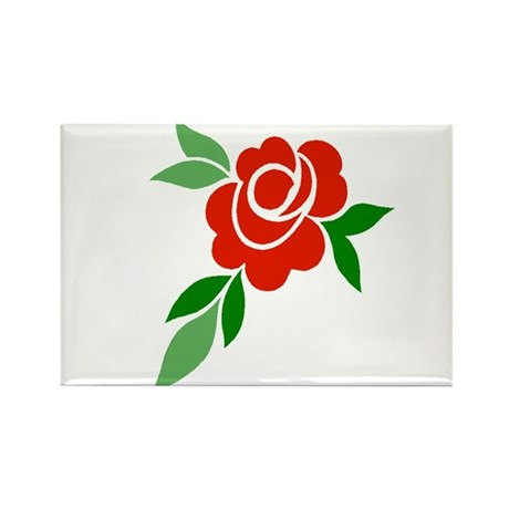 Red Rose Rectangle Magnet (100 pack)