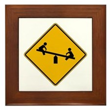 Playground Warning - USA Framed Tile