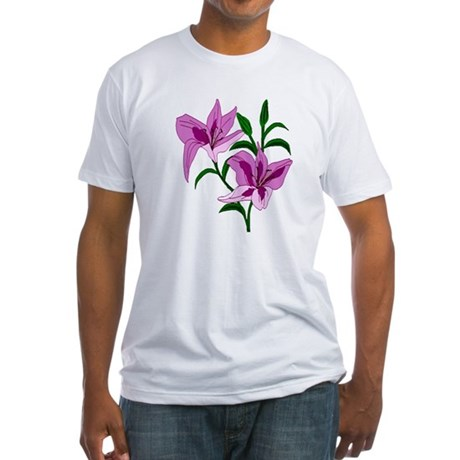 Pink Lilies Fitted T-Shirt