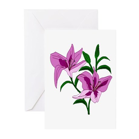 Pink Lilies Greeting Cards (Pk of 10)