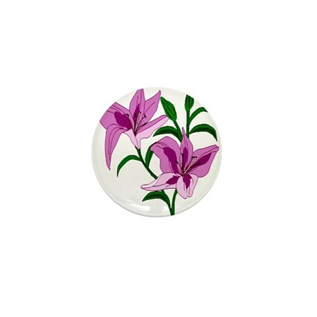 Pink Lilies Mini Button (100 pack)