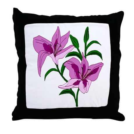 Pink Lilies Throw Pillow