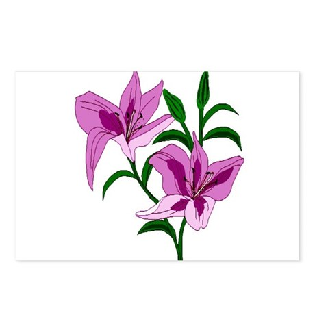 Pink Lilies Postcards (Package of 8)