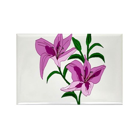 Pink Lilies Rectangle Magnet (100 pack)