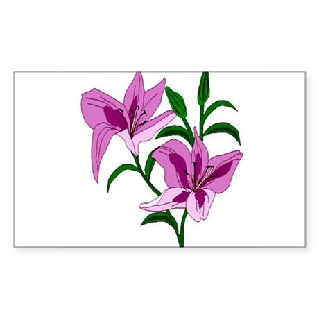 Pink Lilies Rectangle Sticker
