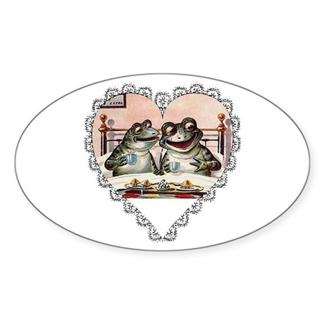 Frog Couple Oval Sticker