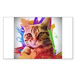 Colorful Cat Sticker (Rectangle 50 pk)