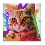 Colorful Cat Tile Coaster