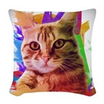 Colorful Cat Woven Throw Pillow