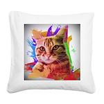 Colorful Cat Square Canvas Pillow