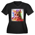 Colorful Cat Women's Plus Size V-Neck Dark T-Shirt