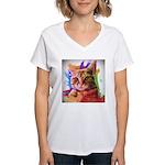 Colorful Cat Women's V-Neck T-Shirt