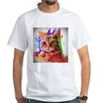 Colorful Cat White T-Shirt