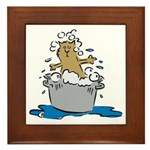 Cat Bath II Framed Tile
