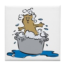 Cat Bath II Tile Coaster