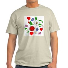 HEARTS AND FLOWERS Ash Grey T-Shirt