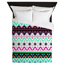 Neon Mix #3, Tribal Queen Duvet