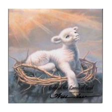 """Behold the Lamb"" Fine Art Tile Coaster"