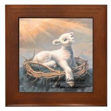 """Behold the Lamb"" Fine Art Framed Tile"