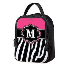 Zebra Print Pink Monogram Neoprene Lunch Bag
