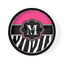 Zebra Print Pink Monogram Wall Clock