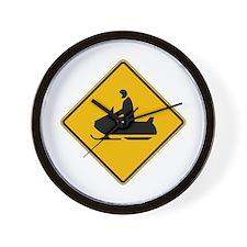 Snowmobile Warning - USA Wall Clock