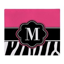 Pink Zebra Print Monogram Throw Blanket