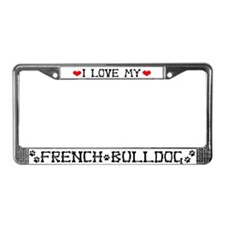 Unique I love bulldogs License Plate Frame