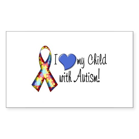 I love my child with autism Rectangle Sticker