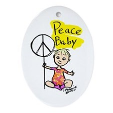 Peace Baby Oval Ornament
