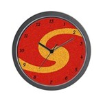 Orange Swirl 13 Hour Wall Clock