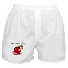 Custom Worm In Apple Cartoon Boxer Shorts