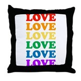 Love Love Love (Rainbow) Throw Pillow