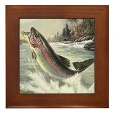 Vintage Rainbow Trout Framed Tile