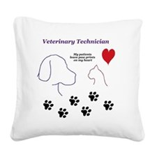 Veterinary Technician-Paw Pri Square Canvas Pillow