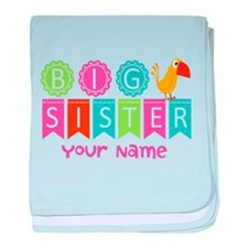 Colorful Whimsy Bird Big Sister baby blanket