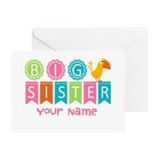 Colorful Whimsy Bird Big Sister Greeting Card