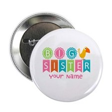 "Colorful Whimsy Bird Big Sister 2.25"" Button (100"