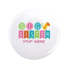 "Colorful Whimsy Bird Big Sister 3.5"" Button"