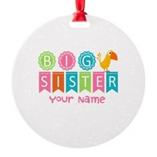 Colorful Whimsy Bird Big Sister Round Ornament