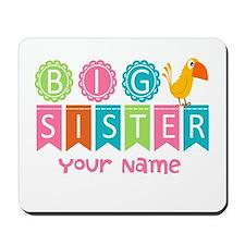 Colorful Whimsy Bird Big Sister Mousepad
