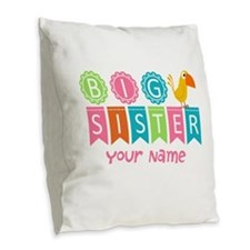 Colorful Whimsy Bird Big Sister Burlap Throw Pillo