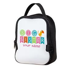 Colorful Whimsy Bird Big Sister Neoprene Lunch Bag