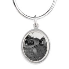 spooky grave site Silver Oval Necklace
