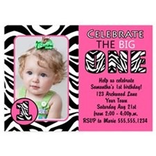 Cute Zebra Pink First Birthday Photo Invite Invita