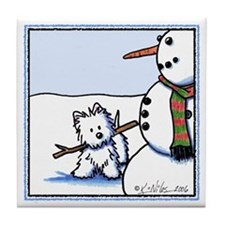 Snowman Builder Tile Coaster