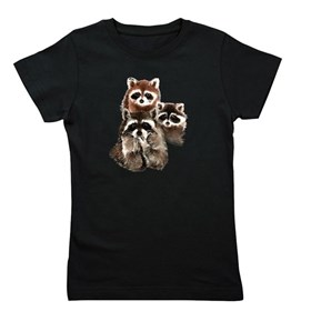 Cute Watercolor Raccoon Animal Family Girl's Tee