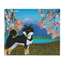 Mt. Fuji & Shiba Throw Blanket