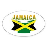 Jamaica flag ribbon Oval Decal