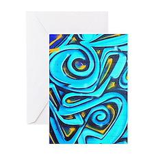 Blue Graffiti Greeting Cards